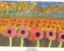 Title: Flowering Fertile Soil - 2000 This is a painting of a filed of poppies, a flower that's traditionally representative of Ukraine. From St. Sofia's School