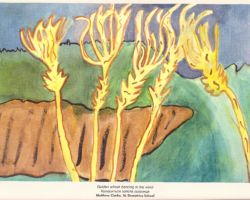 Title: Golden Wheat Dancing in the Wind -2000. This painting is of stalks of wheat in the foreground and an empty field in the background. From St. Demetrius School