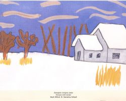 Title: Hungry Cold Winter – 2000. This painting is of a winter scene, a farm house covered in snow, white fields with some remaining wheat stalks, bare trees and brisk blue sky. From St. Demitrius School