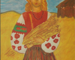 Title Mother Ukraine – 2000. This painting is of a Ukrainian woman holding wheat, with a gold field and farm house in the background. From St. Josaphat School