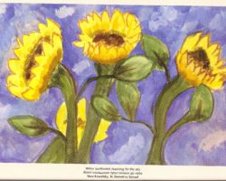 Title: Yellow sunflowers reaching for the sky – 2000. This is a painting of sunflowers, another flower that's traditionally representative of Ukraine. From St. Demetrius School
