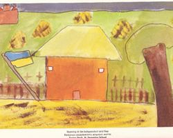Title: Yearning to be independent and free - 2000. This is a painting of a farm house, a field with bundles of wheat, a Ukrainian flag, a church in the background left corner and a tree in the foreground right corner. From St. Demetrius School