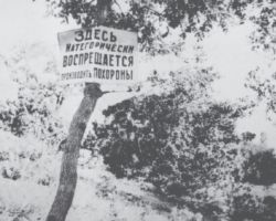 """Taken in Kharkiv in 1932-33, this photograph is from the Innitzer Collection. It shows a sign in Russian that reads, """"The burying of people is strictly prohibited here."""" The Holodomor claimed so many lives that the interment of the victims became an issue."""