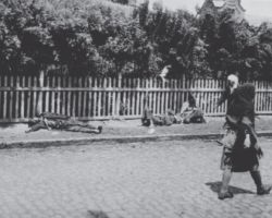 Taken in Kharkiv in 1933, this photograph is from the Innitzer Collection. It shows three adults laying on the side of the street in various stages of starvation and death. One is sitting against the fence, all of them are emaciated and in rags. Two pedestrians walk by on the street in this photograph seemingly oblivious to the dying individuals.