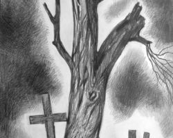 Black and white -it depicts a dead tree with countless crosses at it's base. By: Kutkin Volodymyk