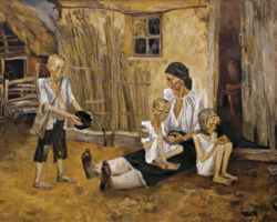 This stylized painting depicts golden wheat ready to be harvested in the background, in the foreground a mother with swollen legs lies dead on her young daughters lap, the daughter hides her mothers face with her own emaciated hand. Along the side of the mother sits a naked toddler with a distended stomach who looks to be attempting to wake the mother. By: Marchenko Nina