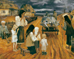 This is a stylized painting depicting starving children and a mother sitting outside of their house up against the wall next to the door. Both children are emaciated, and the mothers legs have begun to swell from the starvation. To the left is a young boy who has approached with a distended stomach and is begging for food. However, it's clear that the family has nothing to offer the boy, nor anything to feed themselves with. By: Marchenko Nina