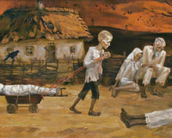 Depicts a young emaciated boy no more than 10 years old, pulling a smaller, bound, cadaver on a cart through a village with people dying of starvation, watching on without an strength to help. By: Marchenko Nina